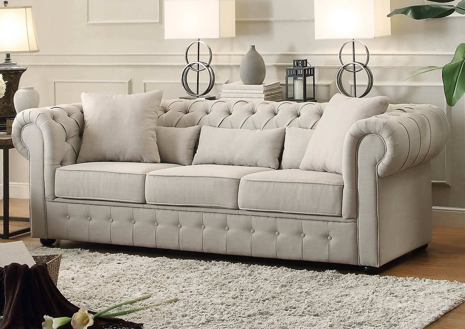 Homelegance Savonburg Sofa - Neutral 8427-3 with regard to Homelegance Sofas (Image 12 of 15)