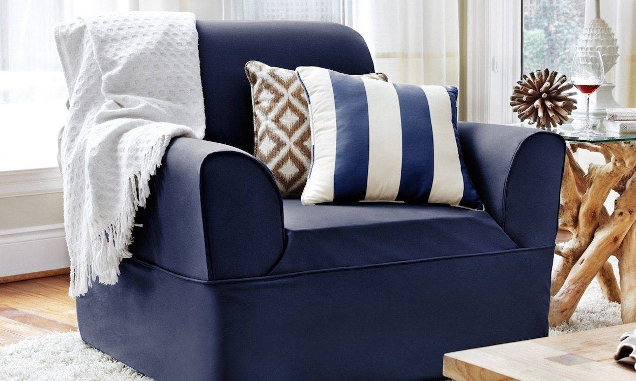 How To Buy Slipcovers - Overstock pertaining to Blue Slipcovers (Image 9 of 15)