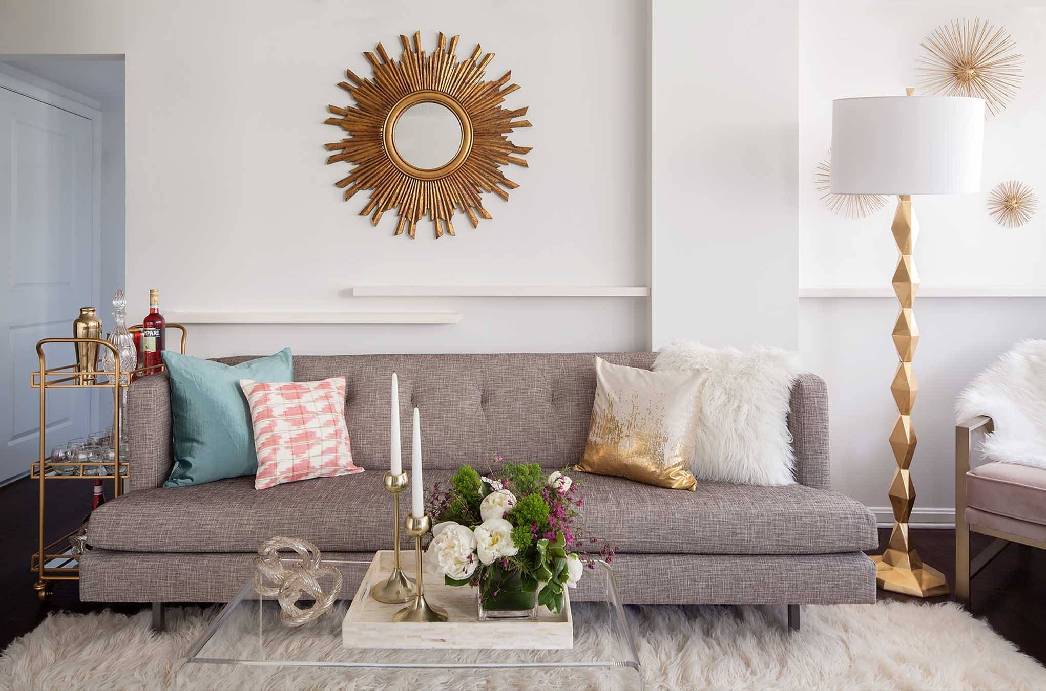 How To Celebrate Your Beauty With Statement Mirrors | Havenly intended for Mirror Above Sofas (Image 5 of 15)