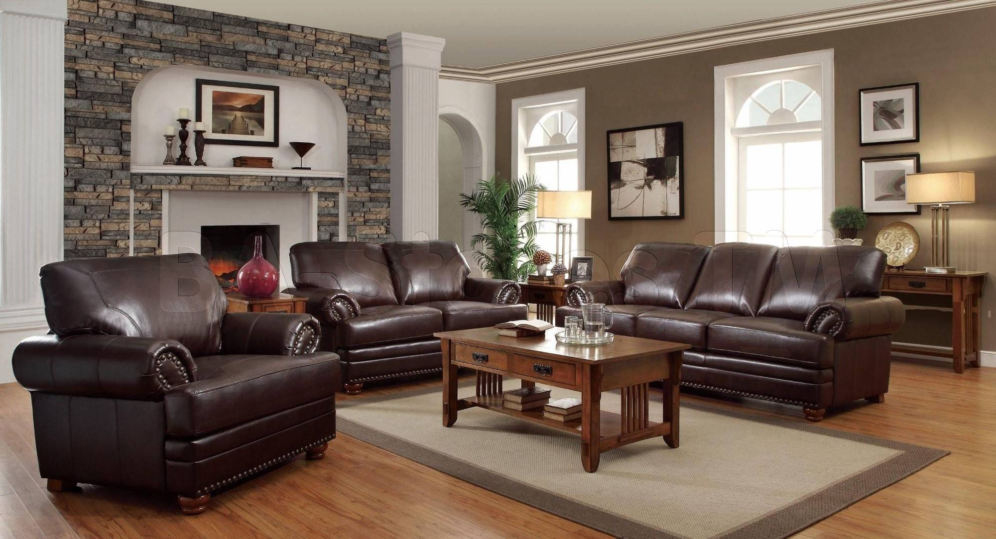 How To Decorate A Living Room With Dark Brown Leather Couches regarding Living Room With Brown Sofas (Image 9 of 15)