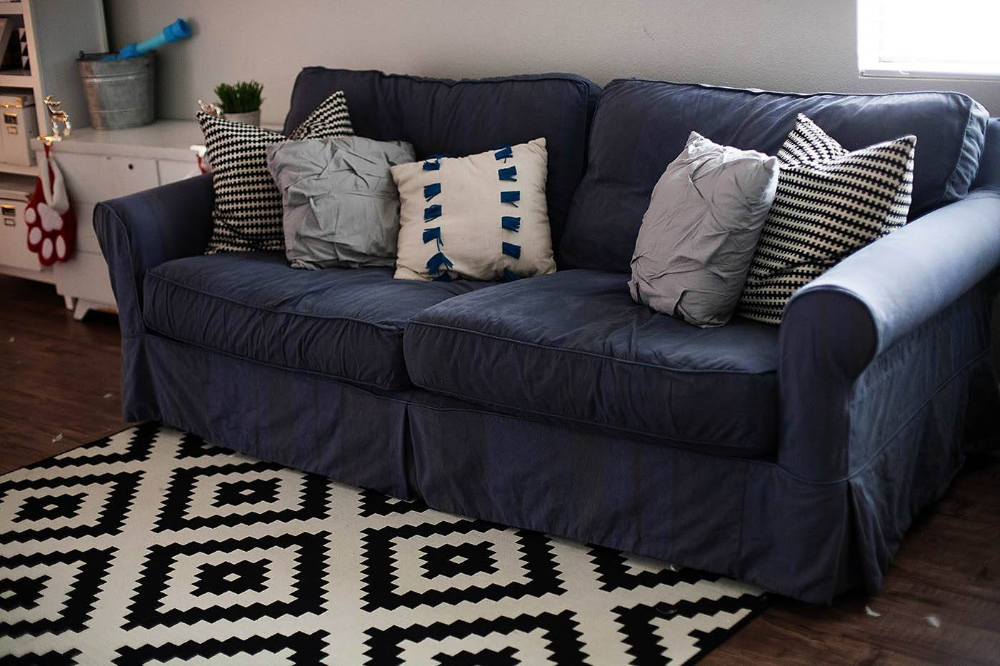 How To Dye A Sofa Slipcover In Navy Blue Slipcovers (Photo 7 of 15)