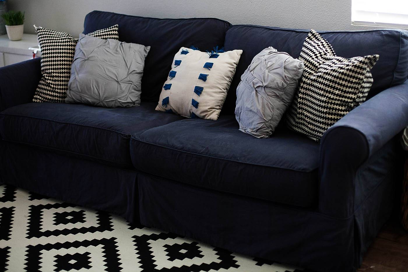 How To Dye A Sofa Slipcover in Navy Blue Slipcovers (Image 11 of 15)