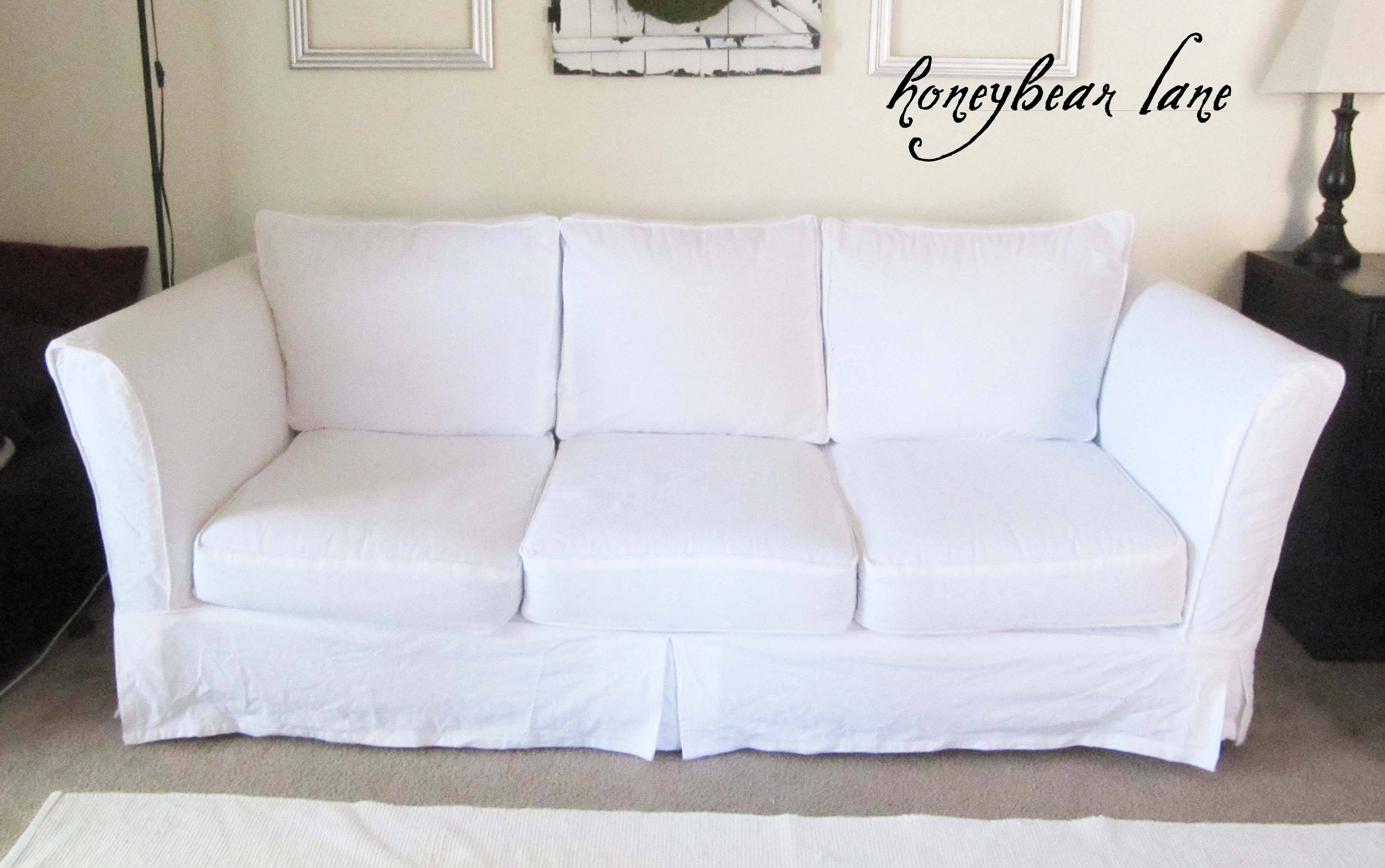 How To Make A Slipcover Part 2: Slipcover Reveal! - Honeybear Lane inside Canvas Sofa Slipcovers (Image 6 of 15)