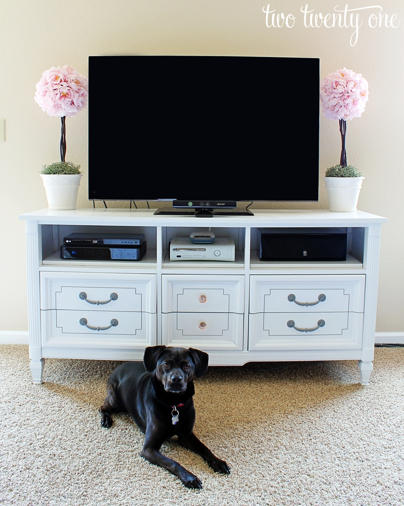 How To Turn A Dresser Into A Tv Stand {Diy} - Two Twenty One with regard to 24 Inch Wide Tv Stands (Image 6 of 15)
