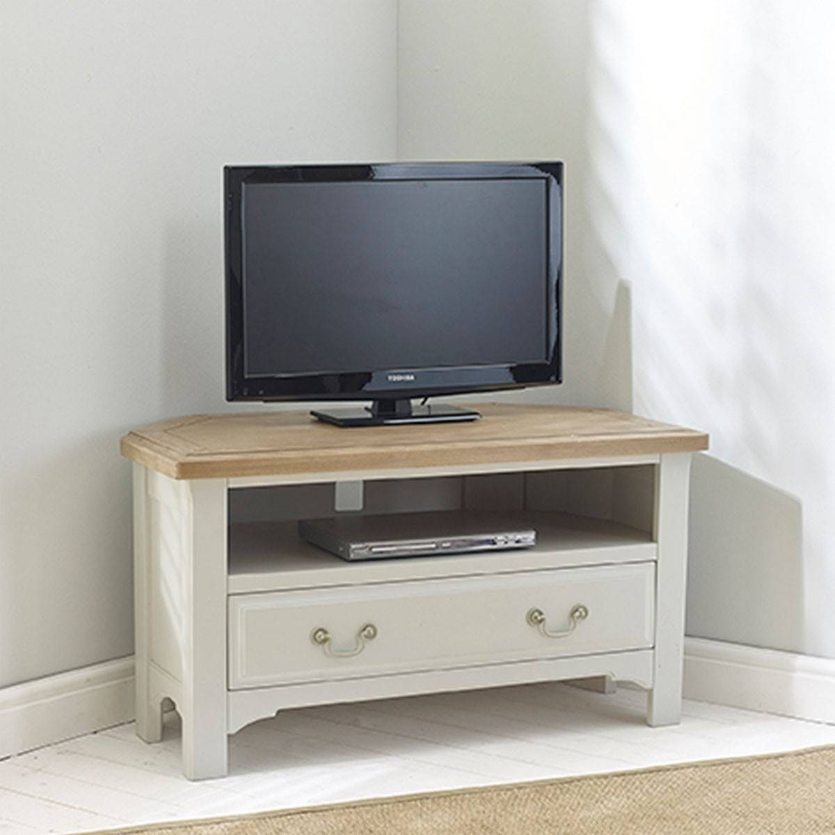 Hutch® – Buxton Light Grey Painted Corner Tv Unit Inside Light Oak Corner Tv Cabinets (View 11 of 15)