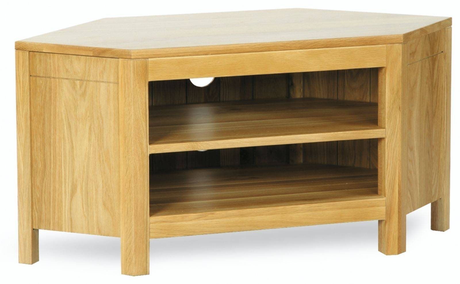 Hutch® - Sherwood Solid Oak Corner Tv Unit in Contemporary Oak Tv Cabinets (Image 9 of 15)