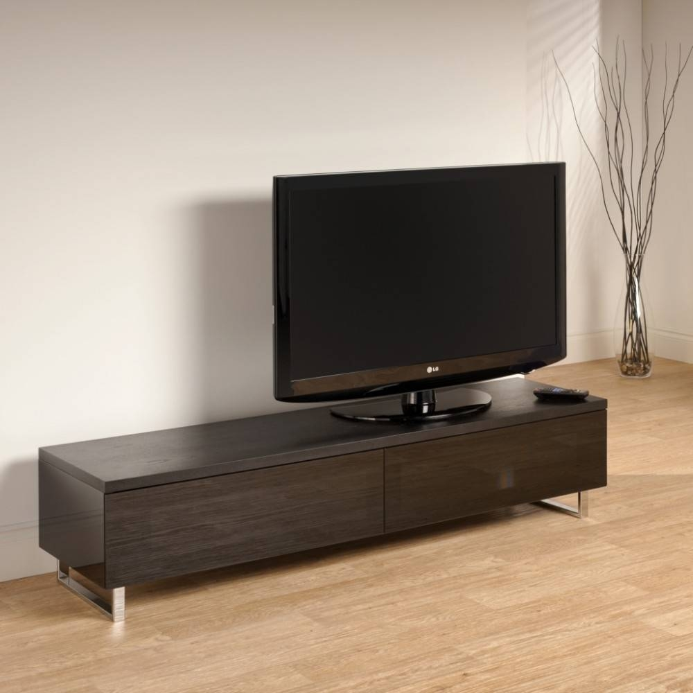 I.r. Friendly Black Glass Doors; Chrome Plated Legs; Screens Up To 60 for Panorama Tv Stands (Image 3 of 16)