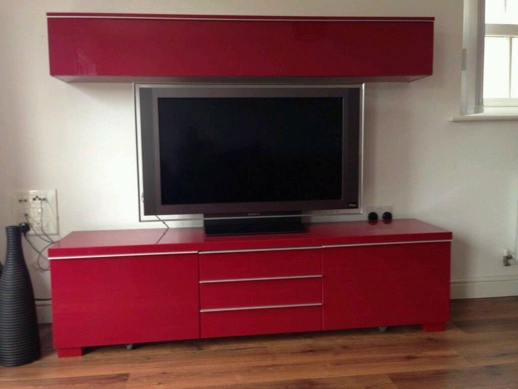 Ikea Besta Burs High Gloss Red Tv Stand Cupboard | In Byfleet Intended For Red Tv Stands (View 3 of 15)