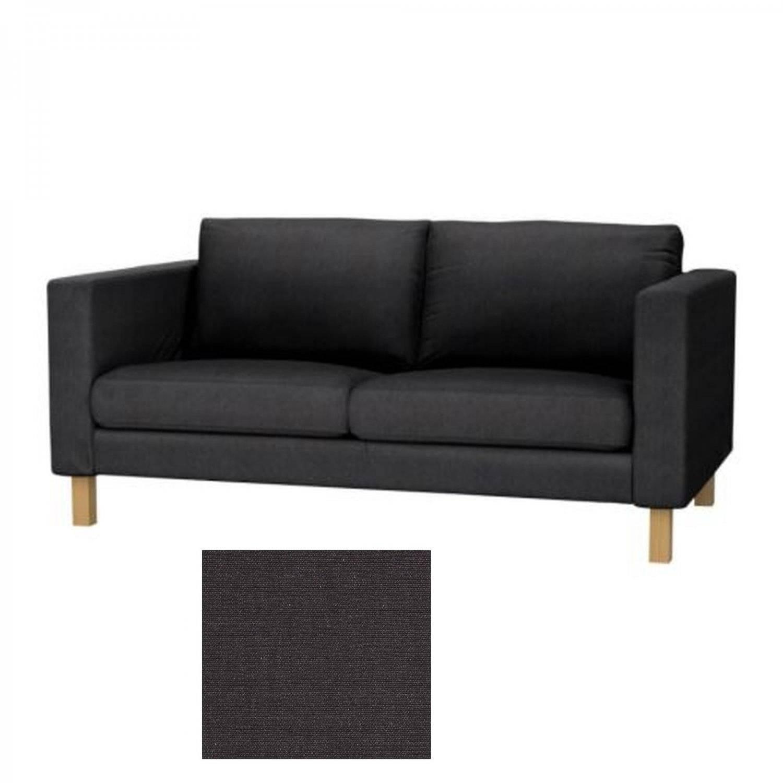 Ikea Karlstad 2 Seat Sofa Slipcover Loveseat Cover Sivik Dark Gray in Black Sofa Slipcovers (Image 7 of 15)