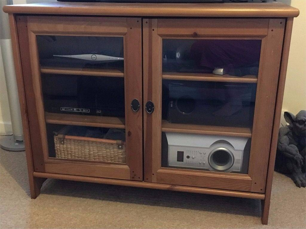 Ikea Leksvik Antique Pine Tv Cabinet With Glass Doors (And Key regarding Solid Pine Tv Cabinets (Image 7 of 15)