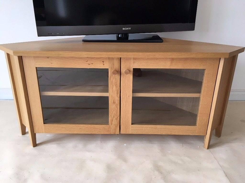 Ikea Skoghall Oak Corner Tv/media Unit/stand Glass Doors regarding Corner Tv Unit With Glass Doors (Image 7 of 15)