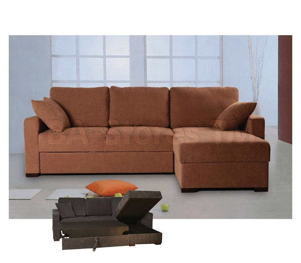 Incognito Sectional Sofa Bed | Storage Chaise | Cocoa Finish with Sofa Beds With Storage Chaise (Image 8 of 15)