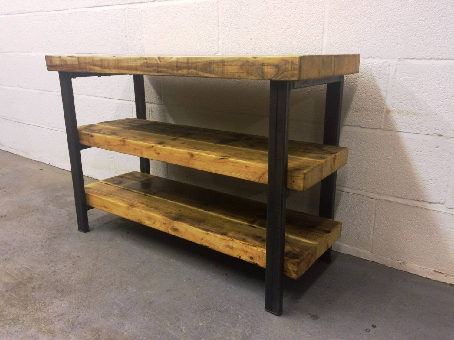 Industrial Chic Reclaimed Tv Stand Media Centre Coffee Table in Reclaimed Wood And Metal Tv Stands (Image 12 of 15)