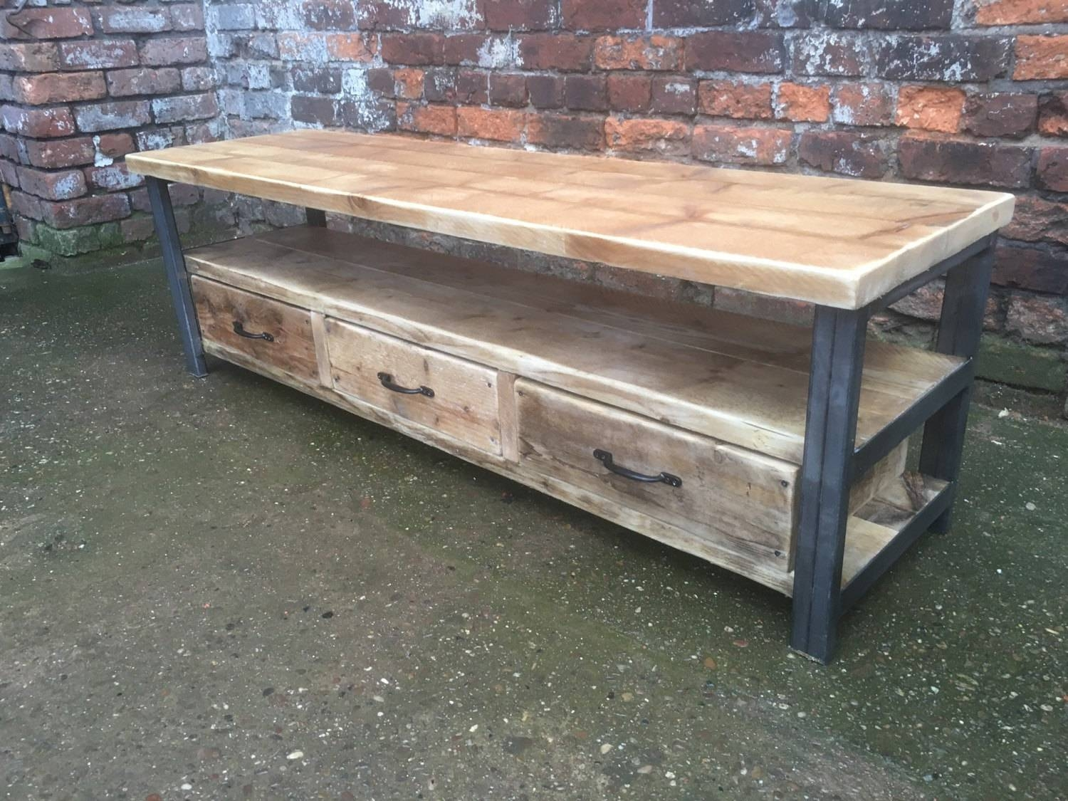 Industrial Chic Reclaimed Wood Tv Stand Media Unit With 3 throughout Recycled Wood Tv Stands (Image 3 of 15)