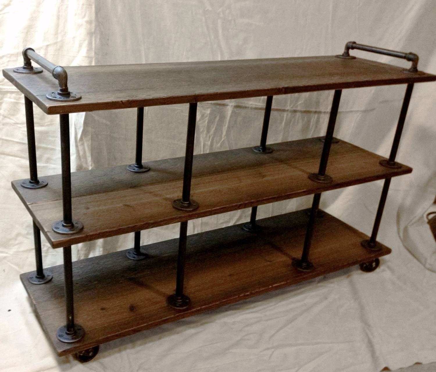 Industrial Tv Stand, Iron And Wood, For 46 To 52 Tvs within Industrial Tv Cabinets (Image 11 of 15)