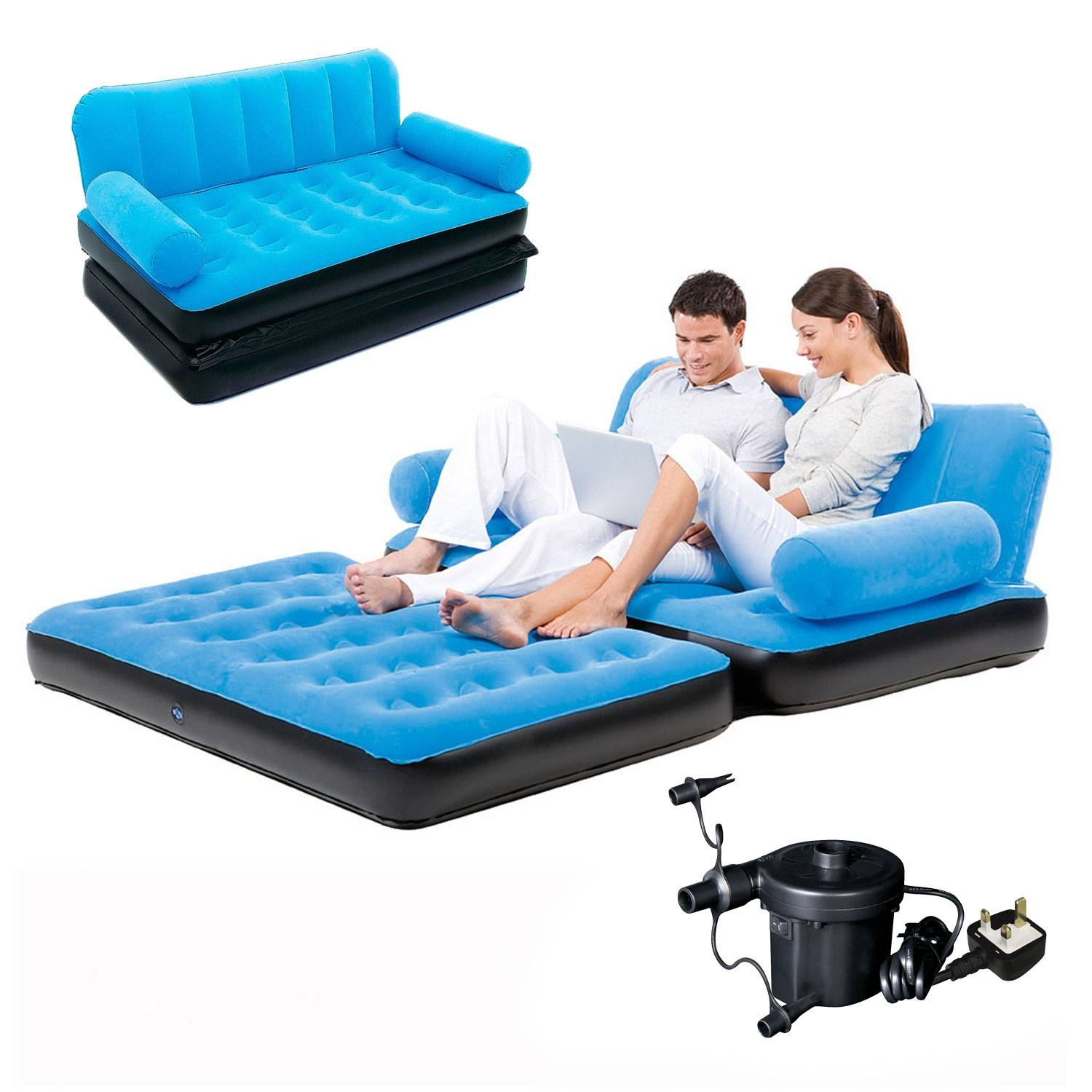 Inflatable Double Sofa Air Bed Couch Blow Up Mattress With Pump | Ebay within Intex Inflatable Sofas (Image 2 of 15)