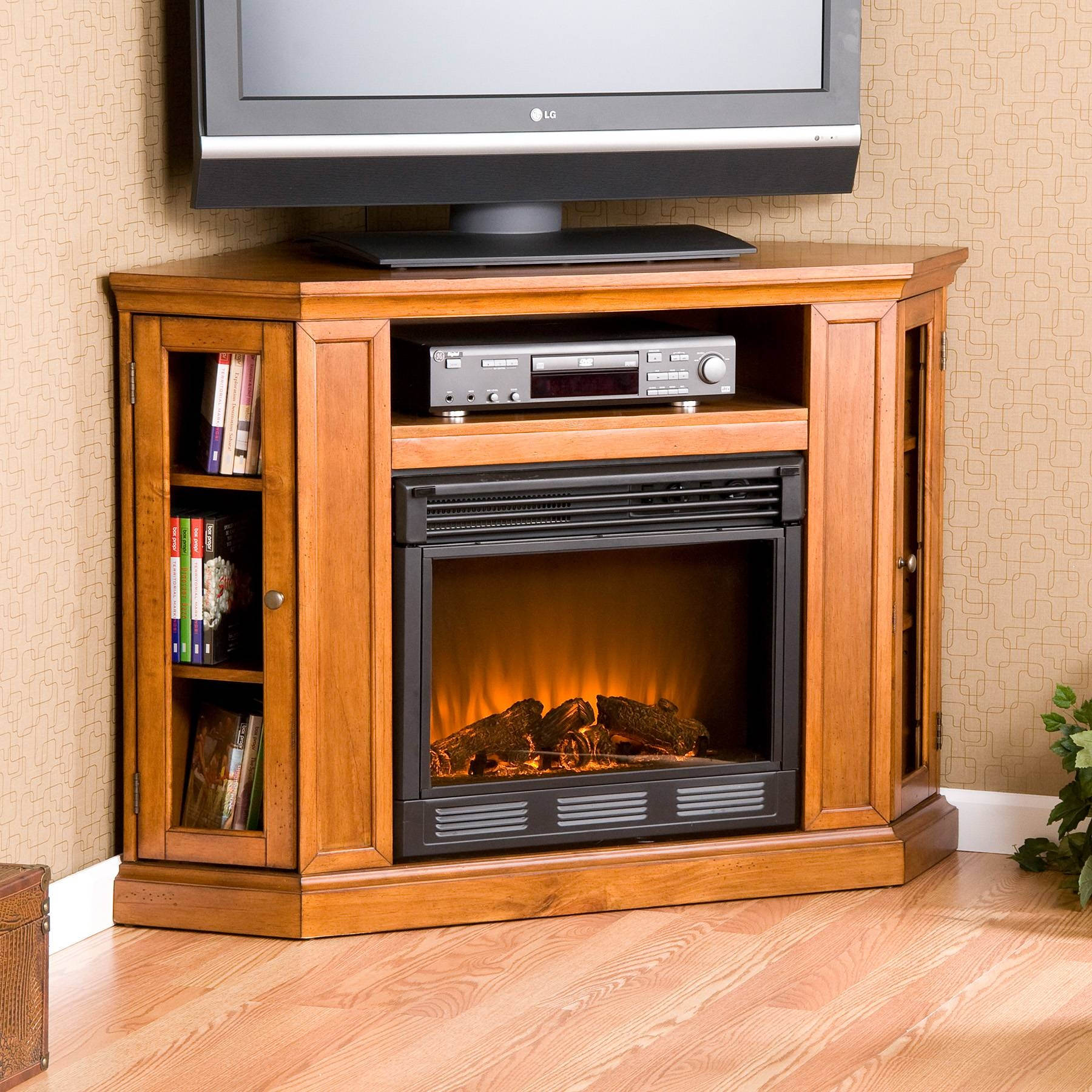 Inspirations: Beautiful Corner Fireplace Tv Stand For Living Room With Cornet Tv Stands (View 5 of 15)