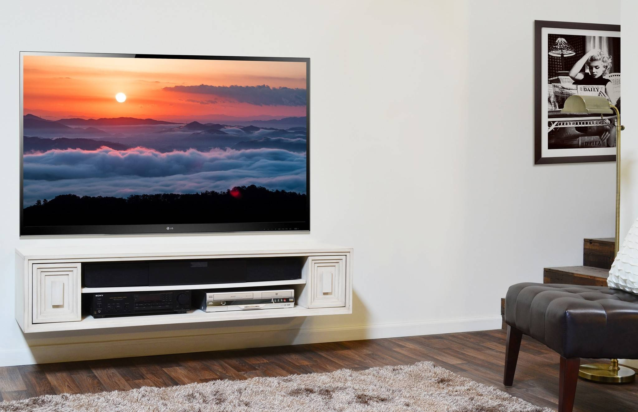 Interesting Wall Mounted Tv Cabinet Ideas Photo Ideas – Surripui Intended For White Wall Mounted Tv Stands (View 7 of 15)