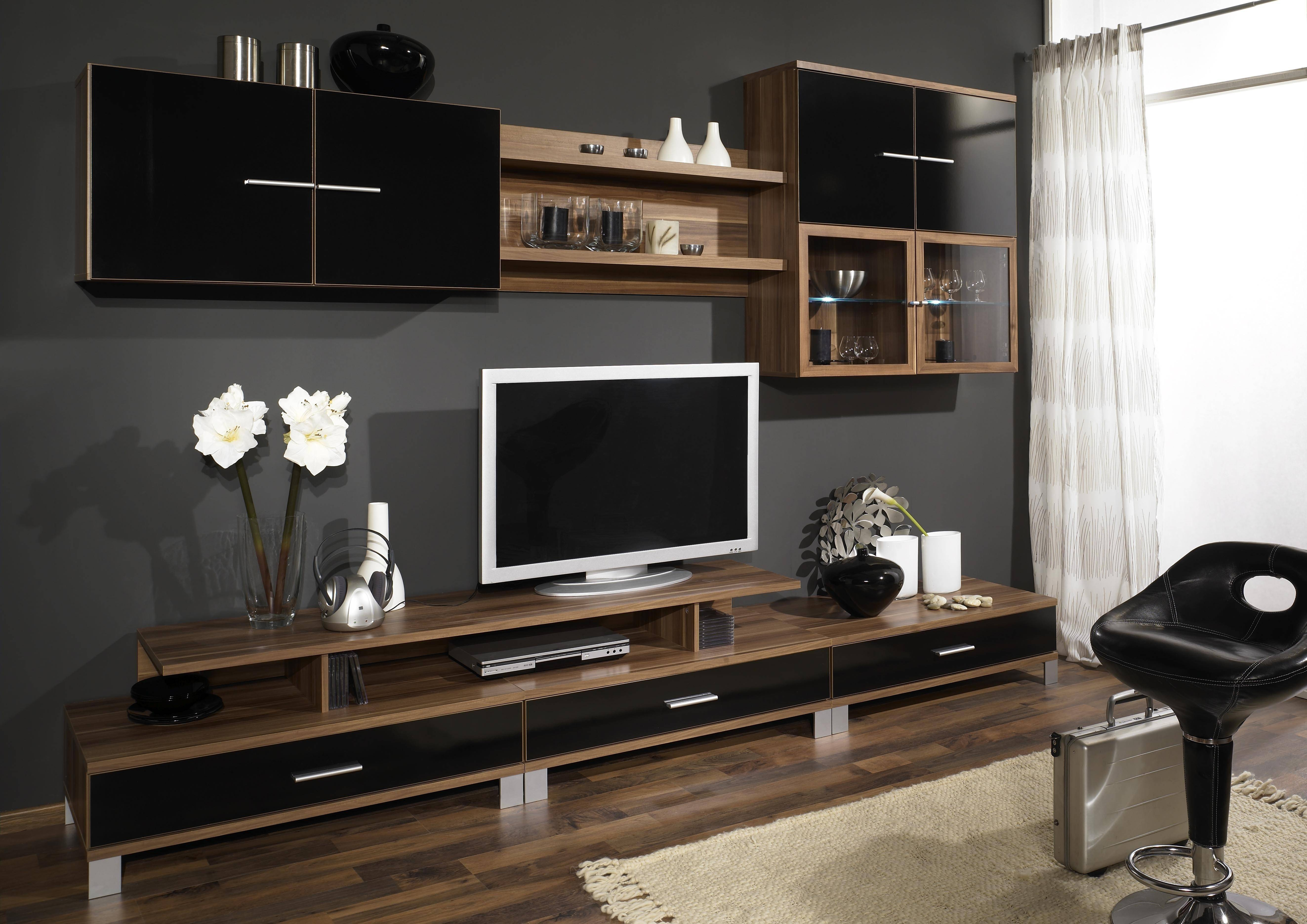 Interior Furniture Cabinets Wall Units Tv Wood Brown - Dining throughout Tv Cabinets And Wall Units (Image 6 of 15)