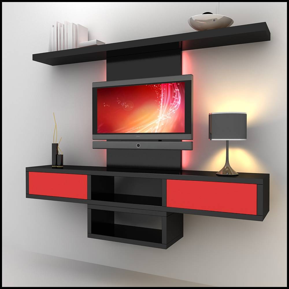 Interior Tips: Amazing Red Mounted Cabinet Shelf Wall Unit And Tv Intended  For Red Tv
