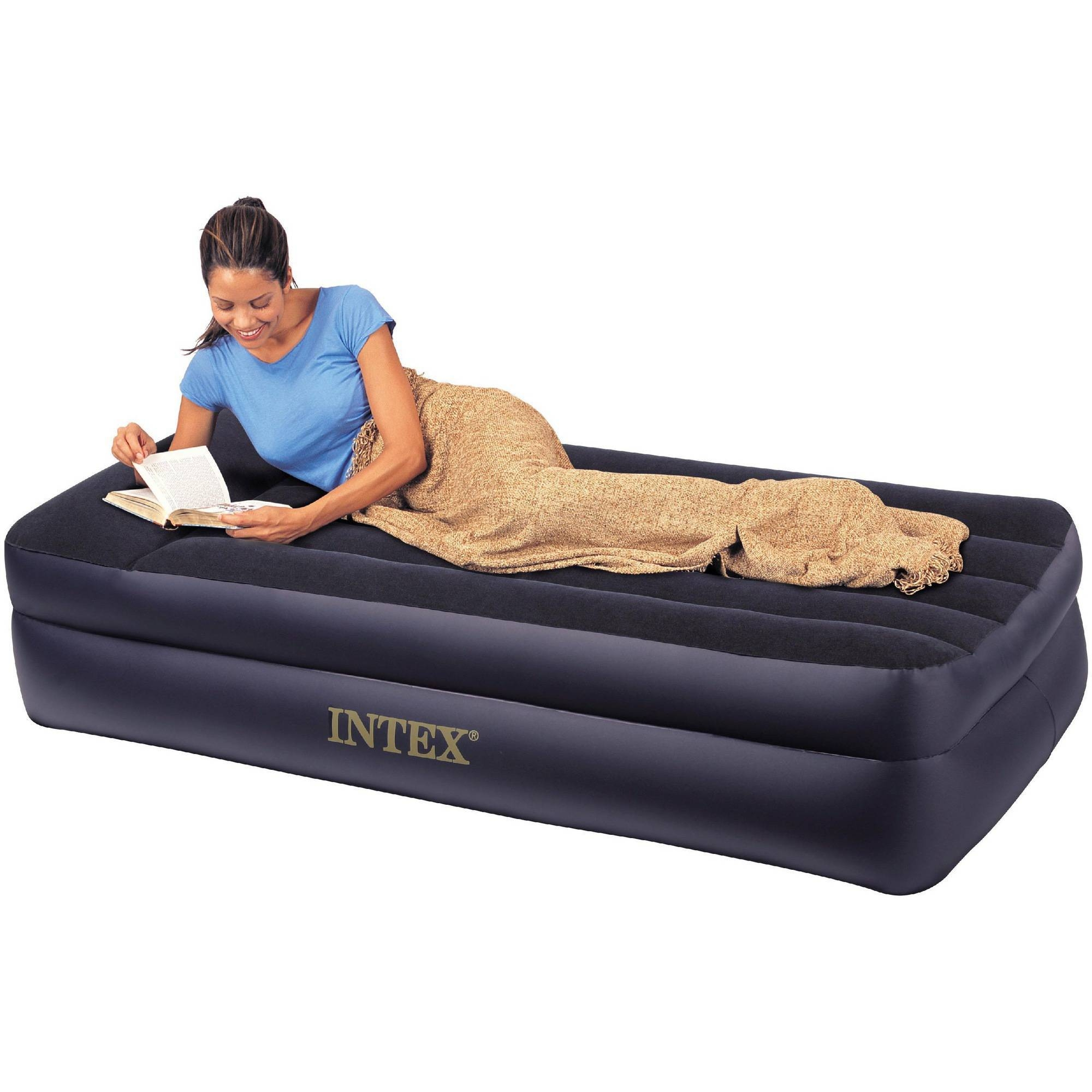 Intex Deluxe Twin Pillow Rest Raised Soft Flocked Air Mattress + Regarding Inflatable Full Size Mattress (Photo 9 of 15)