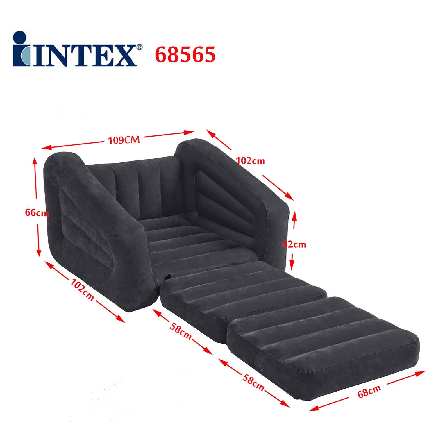 Intex Inflatable 1 Person Pull-Out Chair Sofa Air Bed 68565 | Ebay for Intex Pull Out Chairs (Image 5 of 15)