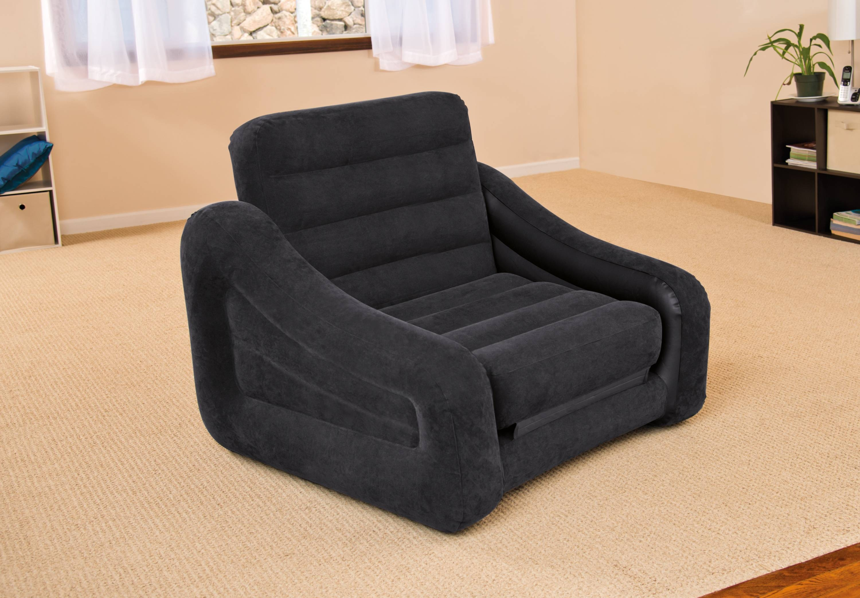 Intex Inflatable Air Chair With Pull Out Twin Bed Mattress Sleeper inside Intex Pull Out Chairs (Image 6 of 15)