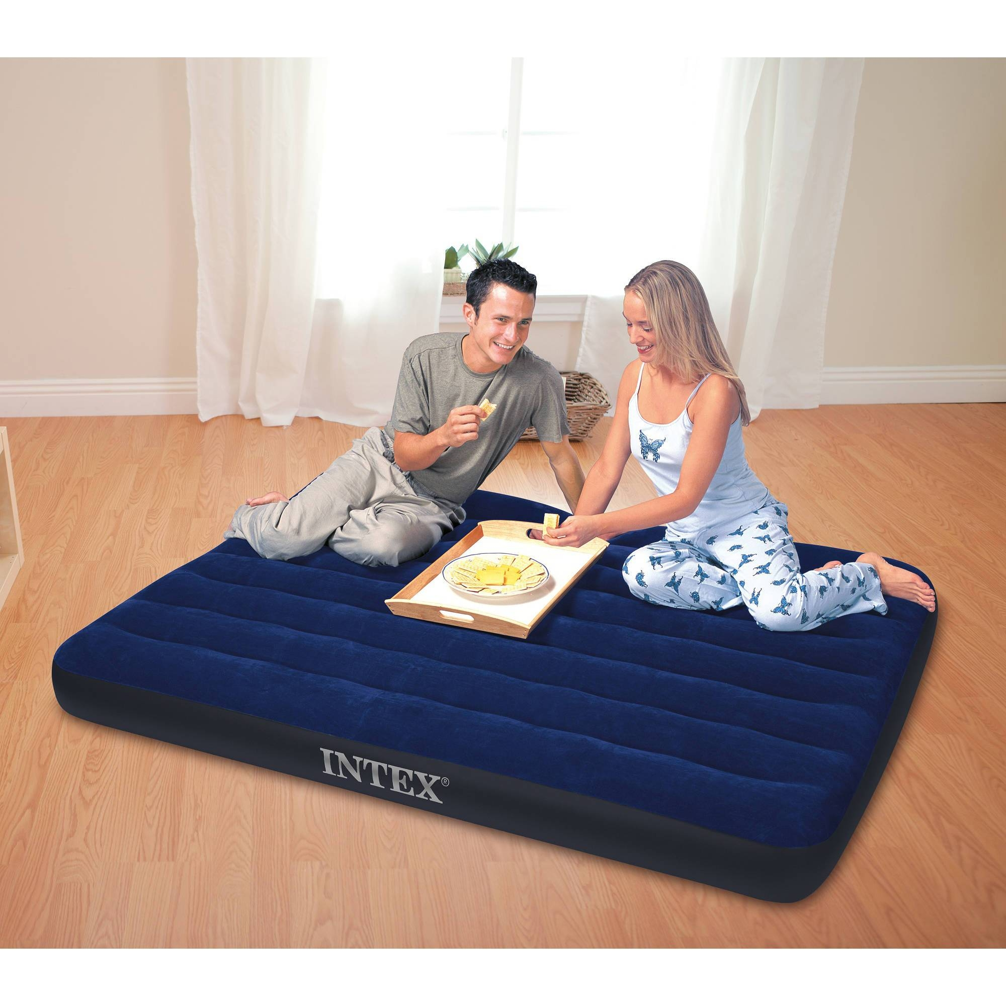 Intex Inflatable Fabric Camping Mattress With Built-In Pillow within Inflatable Full Size Mattress (Image 11 of 15)