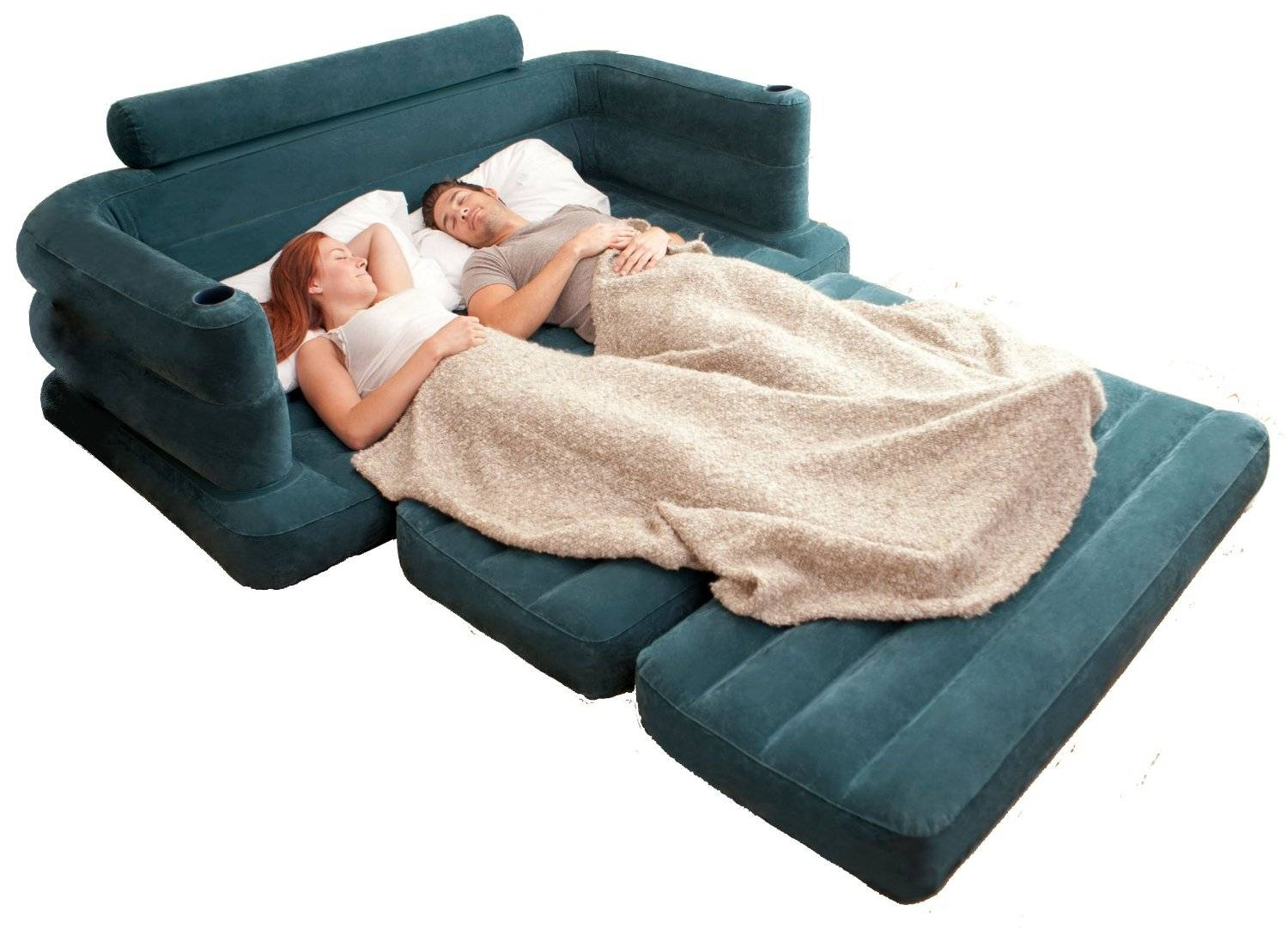 Intex Inflatable Pull Out Sofa Mattress Sleeper Queen 68566Ep Bed for Intex Inflatable Pull Out Sofas (Image 7 of 15)