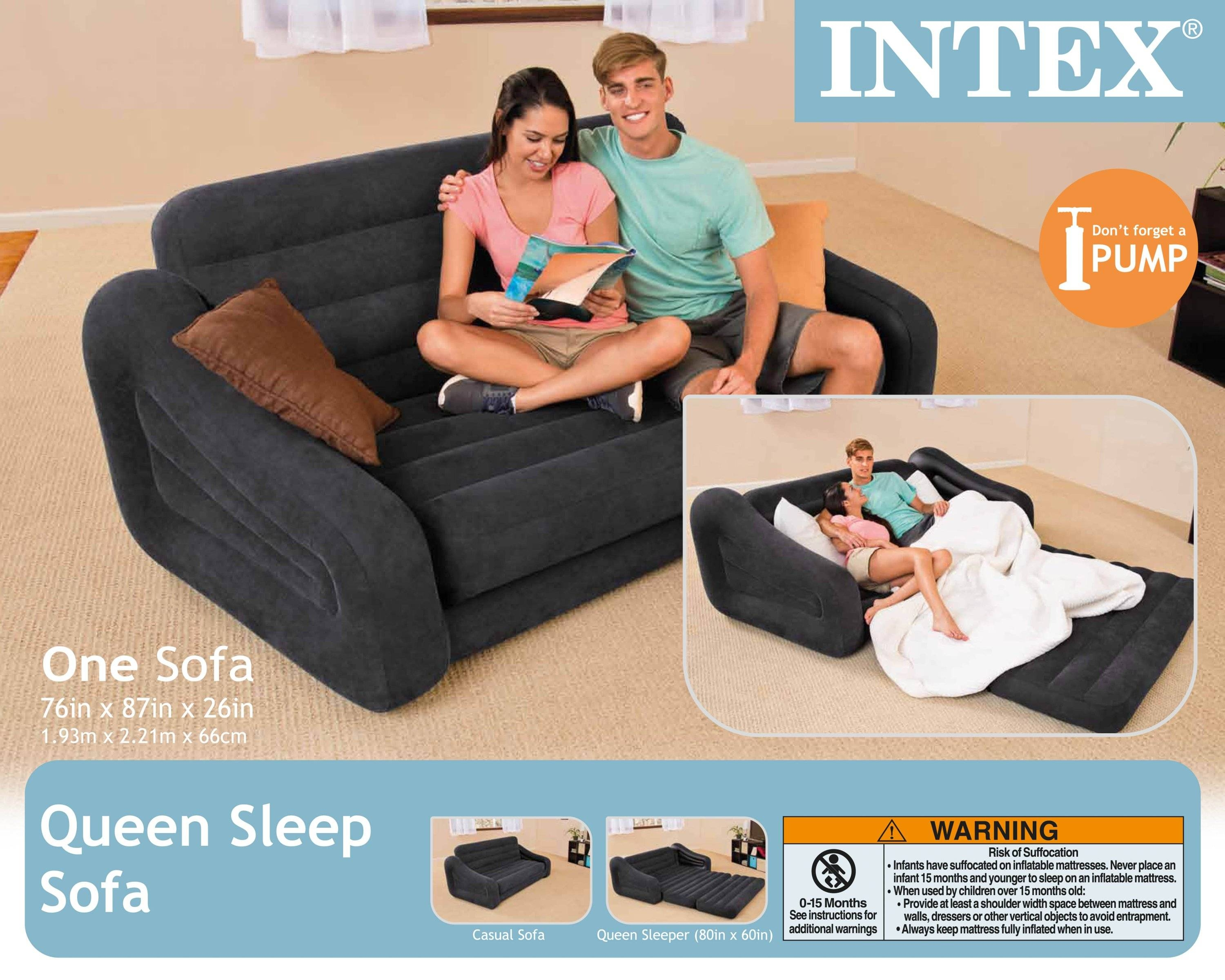 Intex Inflatable Pull-Out Sofa & Queen Bed Mattress Sleeper W/ Ac within Intex Inflatable Pull Out Sofas (Image 10 of 15)