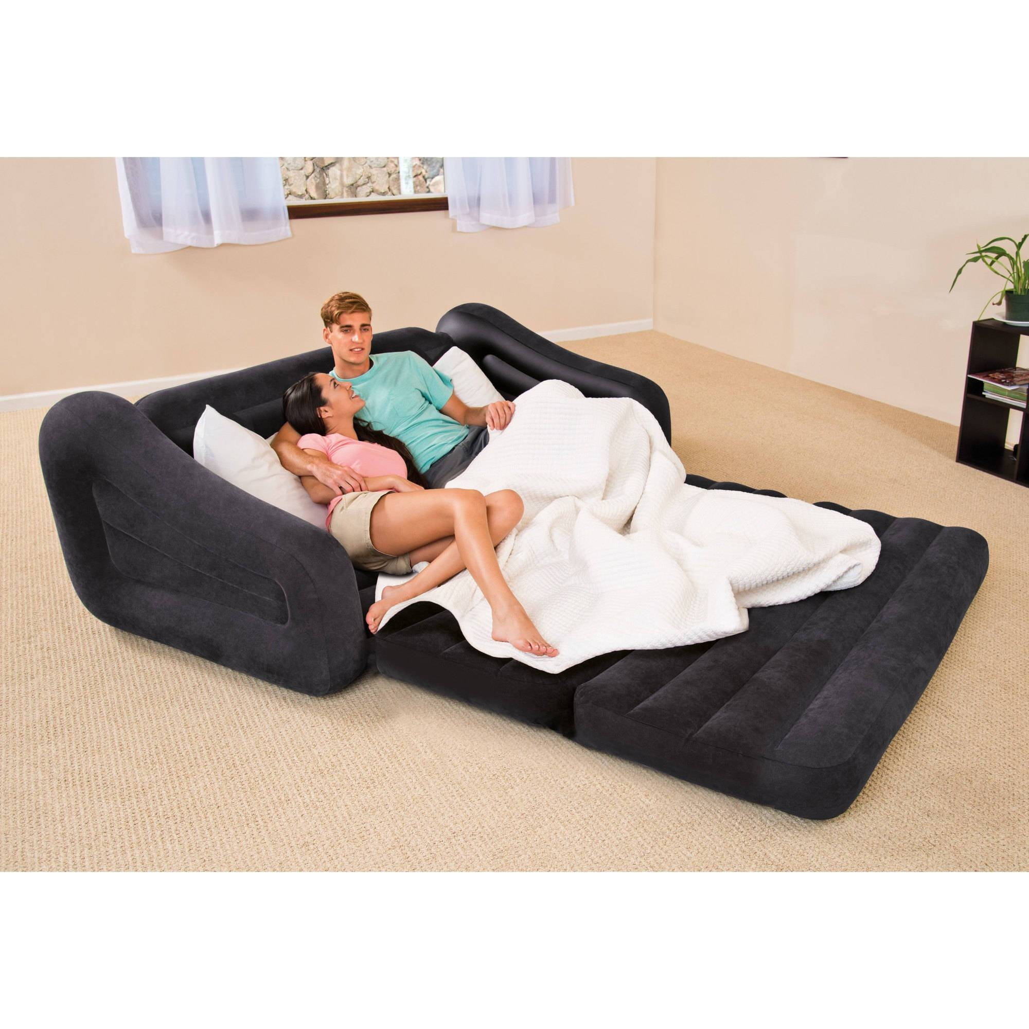 Intex Queen Inflatable Pull Out Sofa Bed - Walmart in Intex Air Couches (Image 13 of 15)