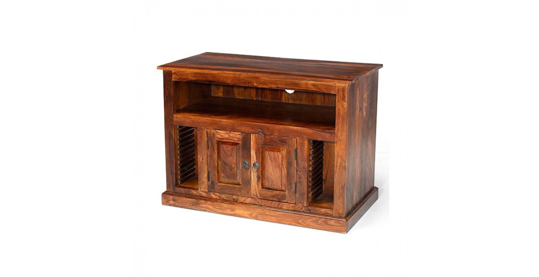 Jali Sheesham Chunky Tv Stand - Lifestyle Furniture Uk throughout Jali Tv Cabinets (Image 8 of 15)