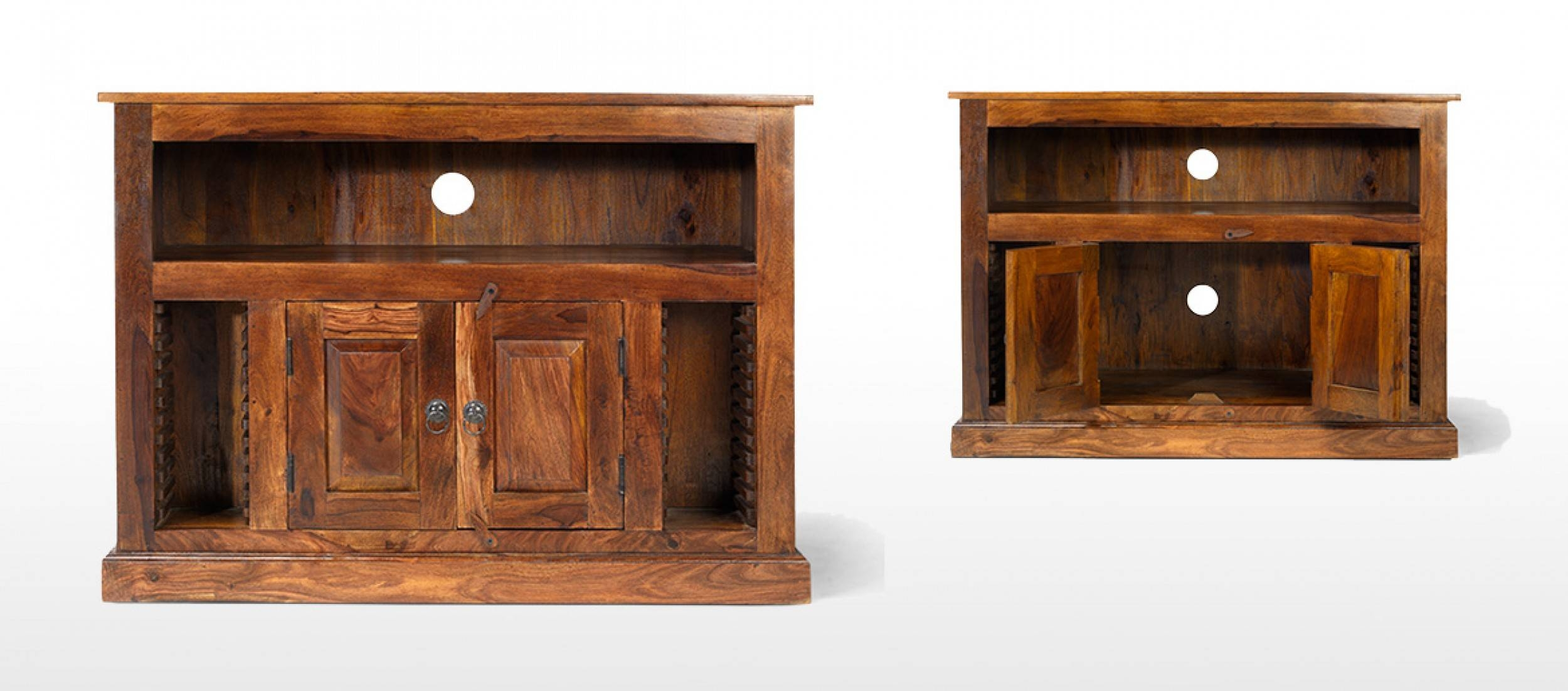 Jali Sheesham Chunky Tv Stand   Quercus Living pertaining to Jali Tv Cabinets (Image 9 of 15)