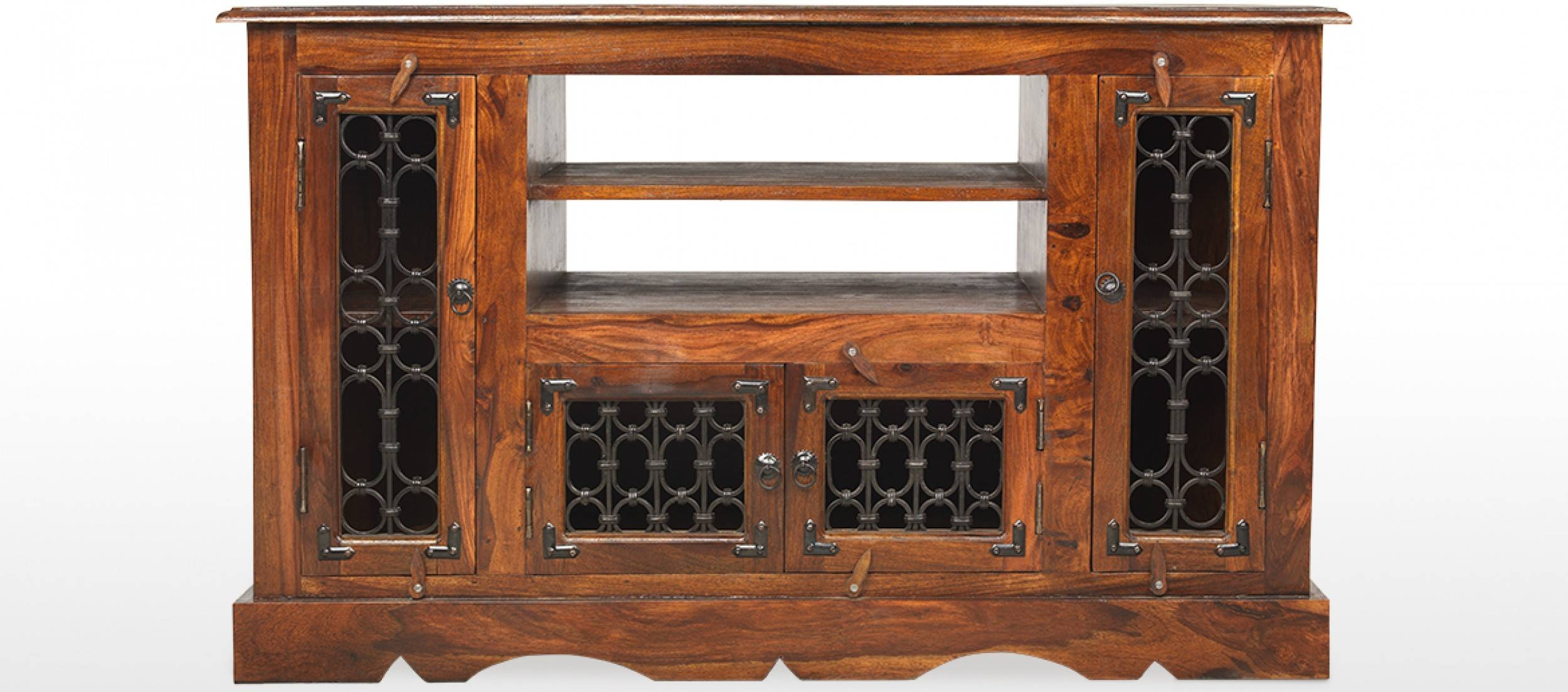 Jali Sheesham Corner Tv Cabinet | Quercus Living within Jali Tv Cabinets (Image 11 of 15)