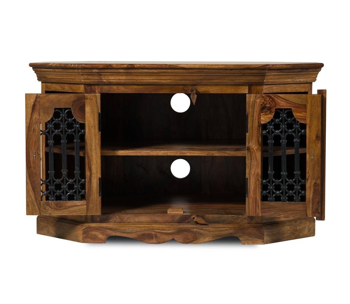 Jali Sheesham Corner Tv Unit   Casa Bella Furniture Uk in Jali Tv Cabinets (Image 12 of 15)