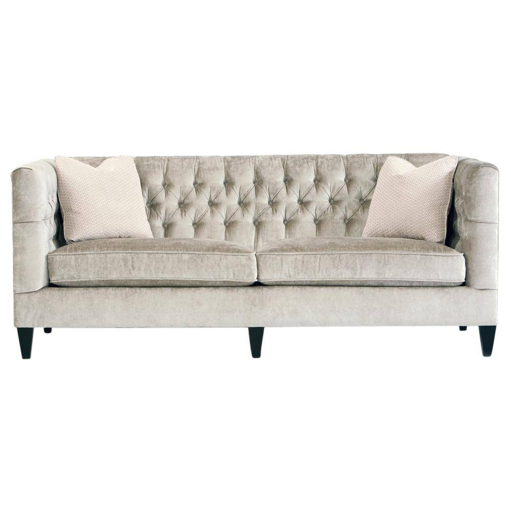 Jane Hollywood Regency Mocha Wood Silver Velvet Tufted Sofa in Silver Tufted Sofas (Image 9 of 15)