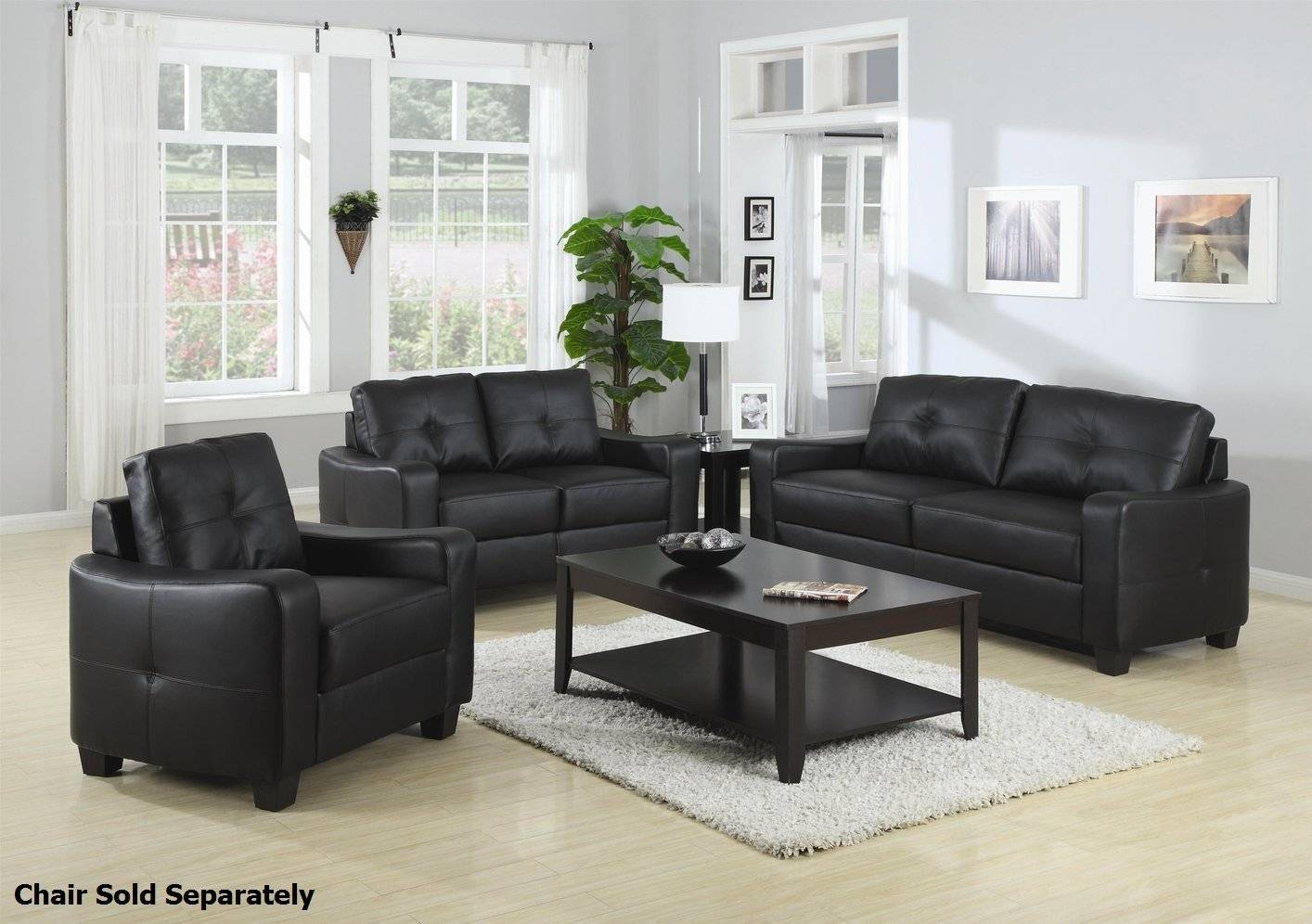 Jasmine Black Leather Sofa And Loveseat Set - Steal-A-Sofa pertaining to Black Leather Sofas and Loveseats (Image 11 of 15)