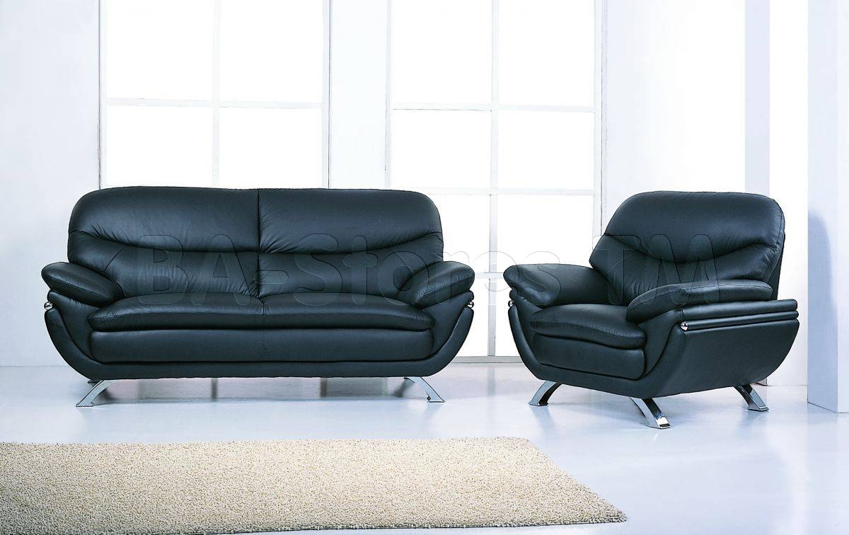 Jonus Sofa And Loveseat Set | Black Leather - $1,878.00 within Black Leather Sofas And Loveseat Sets (Image 13 of 15)