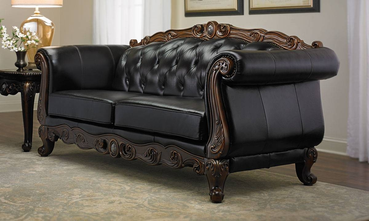 Josephine Leather Camelback Sofa | Haynes Furniture, Virginia's throughout Chippendale Camelback Sofas (Image 12 of 15)