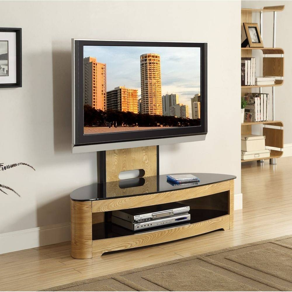 Jual Jf209 Ob Lcd Tv Stands Oak Black Glass 2 Shelf Tvs 40 Up To 55 Intended For Cantilever Tv Stands (View 11 of 15)