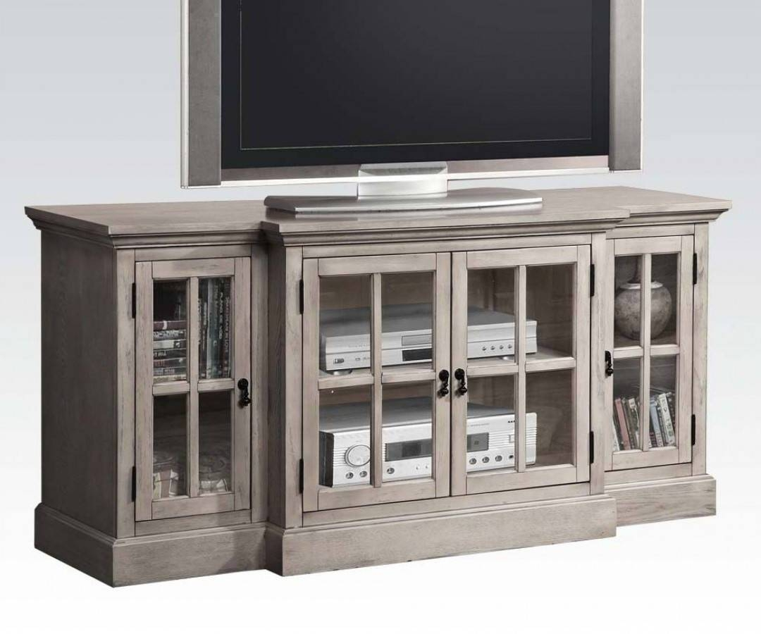 Julian Gray Wood Tv Stand W/4 Glass Doors | Entertainment | The throughout Grey Tv Stands (Image 7 of 15)