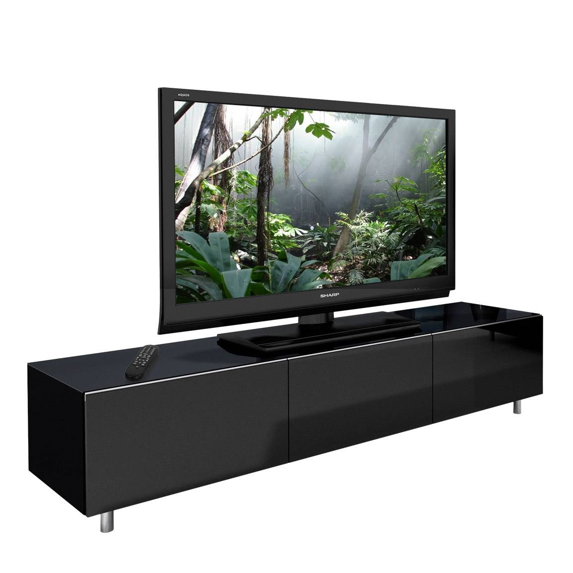 Just-Racks Jrl1650 Gloss Black Tv Cabinet - Black Tv Stands pertaining to Black Tv Cabinets With Doors (Image 10 of 15)