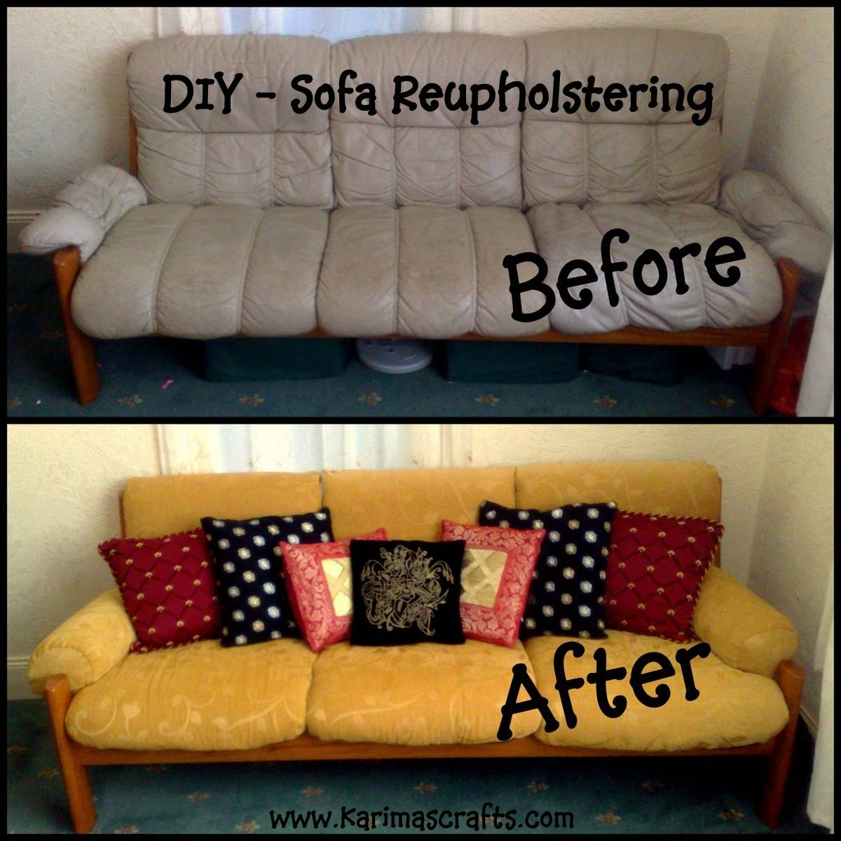 Karima's Crafts: Reupholstering A Sofa - My Mini Tutorial throughout Reupholster Sofas Cushions (Image 11 of 15)