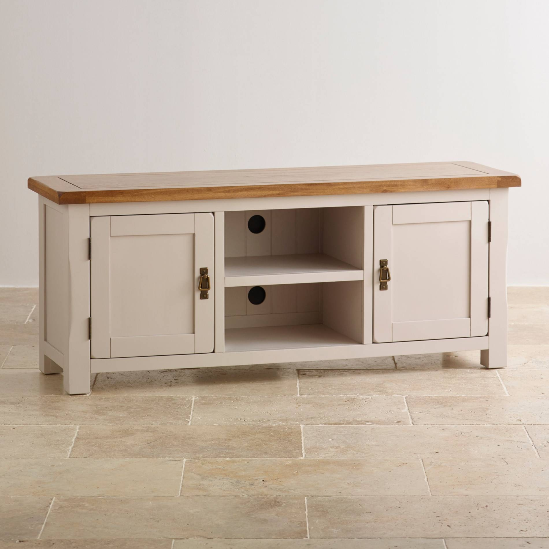 Kemble Widescreen Tv Cabinet In Solid Oak | Oak Furniture Land intended for Rustic Tv Cabinets (Image 4 of 15)