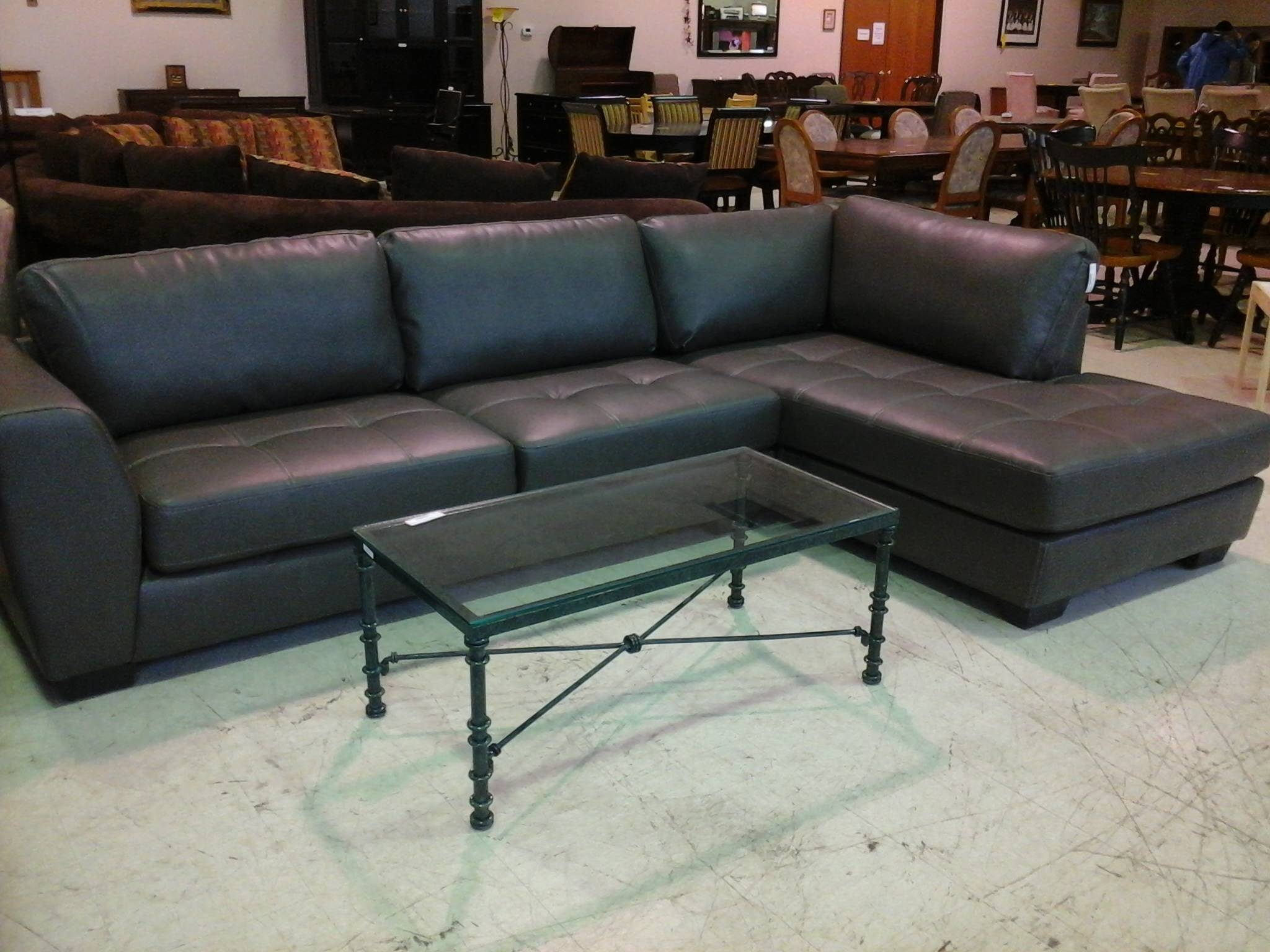L Shaped Grey Leather Sofa With Short Black Base Combined regarding Charcoal Grey Leather Sofas (Image 12 of 15)
