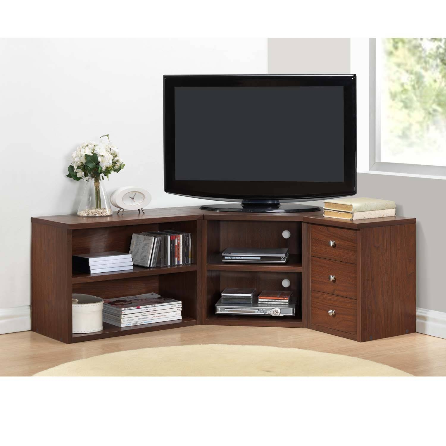 Lacquered Oak Wood Corner Tv Stand With Drawers Cabinet Of Stylish regarding Corner Tv Stands With Drawers (Image 7 of 15)