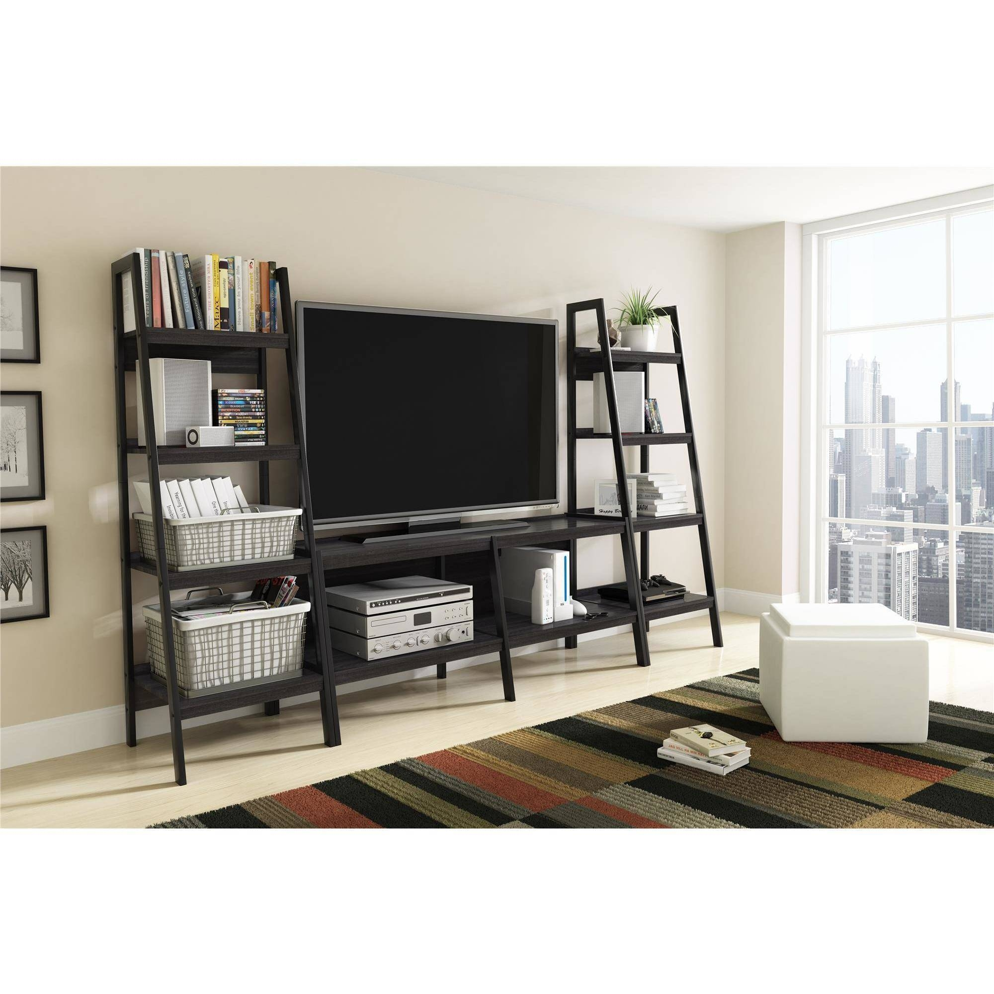 Ladder Tv Stand And Bookcase 3 Piece Entertainment Center Bundle with Tv Stands With Matching Bookcases (Image 7 of 15)