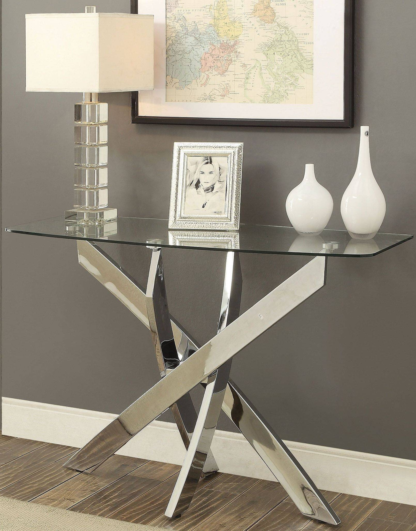 Laila Chrome Sofa Table From Furniture Of America | Coleman Furniture Within Chrome Sofa Tables (View 11 of 15)