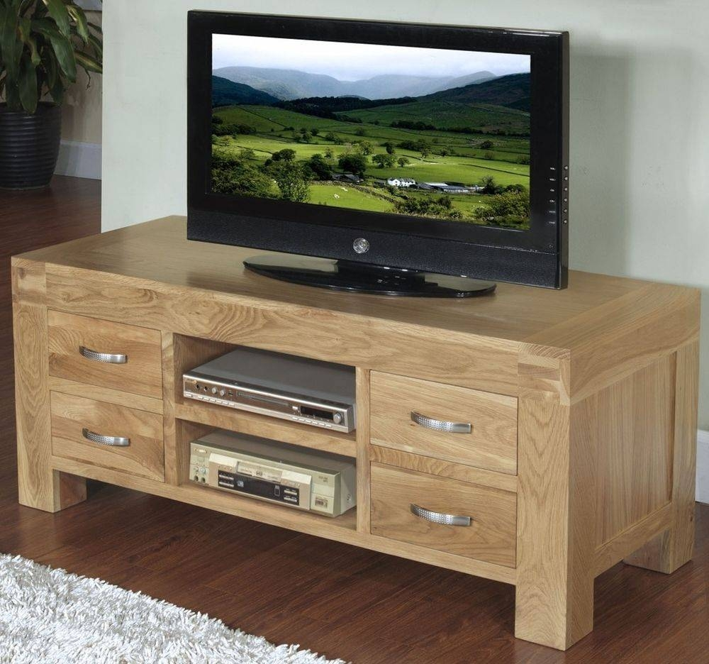 Langton Solid Contemporary Oak Furniture Widescreen Tv Cabinet pertaining to Contemporary Oak Tv Cabinets (Image 10 of 15)