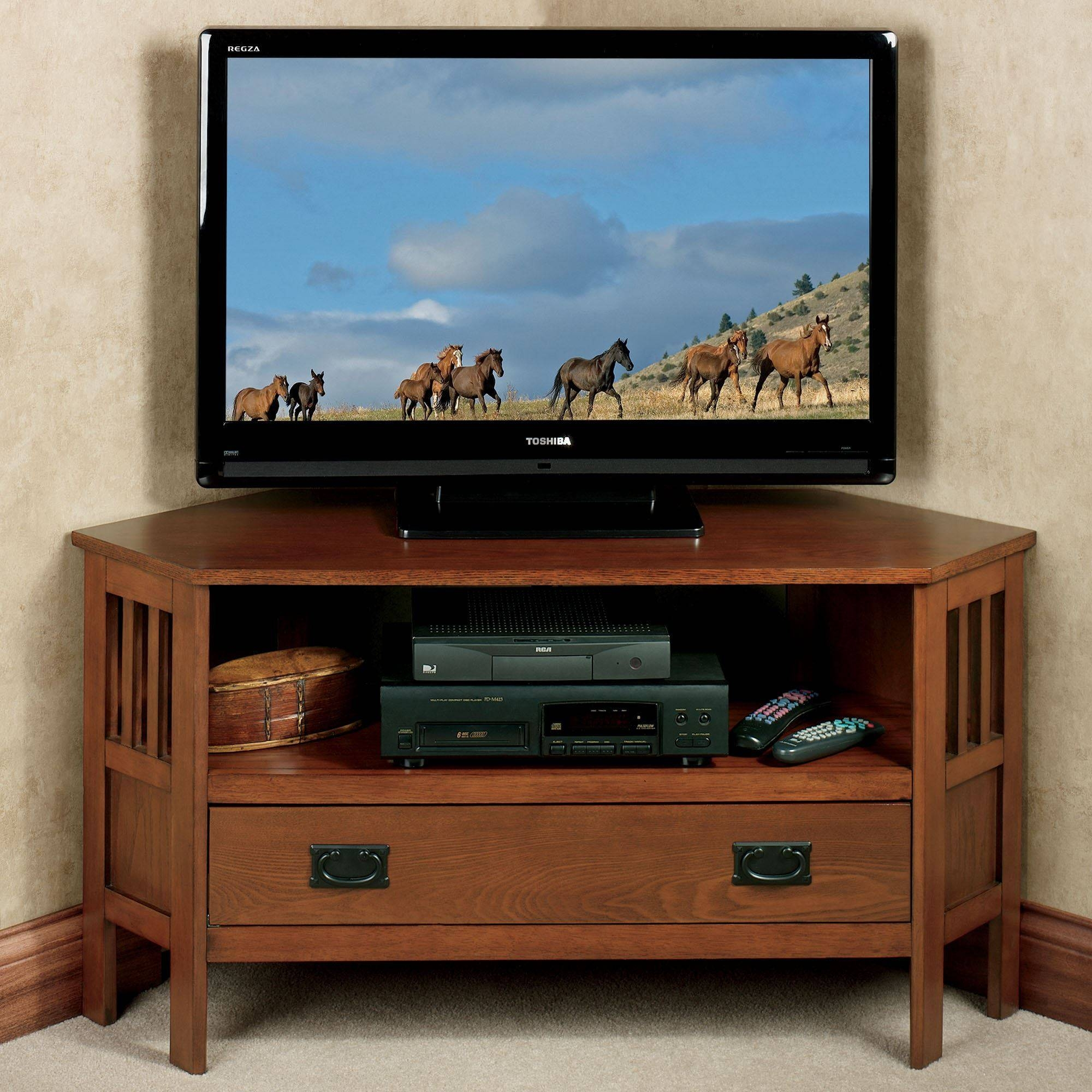 Laramie Mission Corner Tv Media Stand with regard to Corner Tv Stands With Drawers (Image 8 of 15)